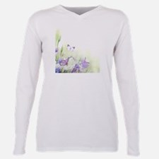 Flowers with Butterflies Plus Size Long Sleeve Tee