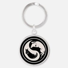 Dog-Cat Yin-Yang Round Keychain
