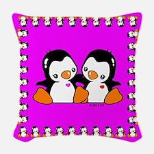 Cute Penguins Woven Throw Pillow