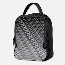 Black and White Diagonal Lines Neoprene Lunch Bag