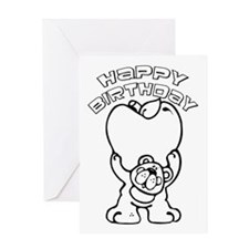 Color Your Own Birthday Bear Greeting Card
