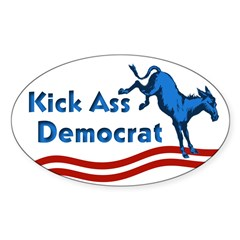 Kick Ass Democrat Oval Bumper Decal