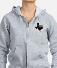 Texas Firefighter Thin Red Line Zip Hoodie