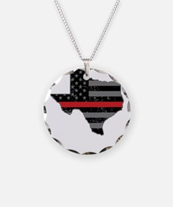 Texas Firefighter Thin Red L Necklace
