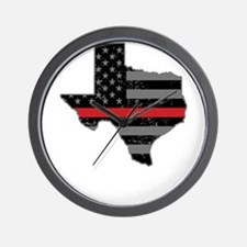 Texas Firefighter Thin Red Line Wall Clock