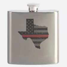 Texas Firefighter Thin Red Line Flask