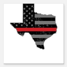 """Texas Firefighter Thin R Square Car Magnet 3"""" x 3"""""""