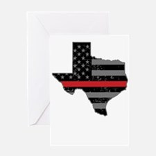 Texas Firefighter Thin Red Line Greeting Cards
