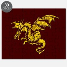 Gold Dragon on Maroon Puzzle