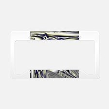 Silver Blue Sting Ray Fractal License Plate Holder