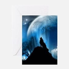 Wolf Howling At The Moon Greeting Cards