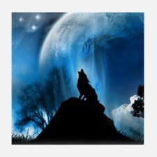 Wolf Howling At The Moon Tile Coaster