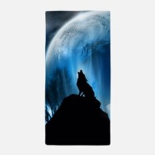 Wolf Howling At The Moon Beach Towel