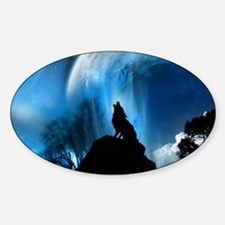 Wolf Howling At The Moon Decal