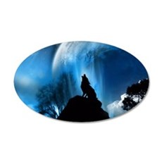 Wolf Howling At The Moon Wall Sticker