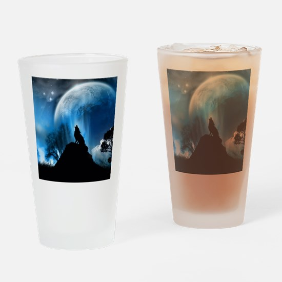 Wolf Howling At The Moon Drinking Glass
