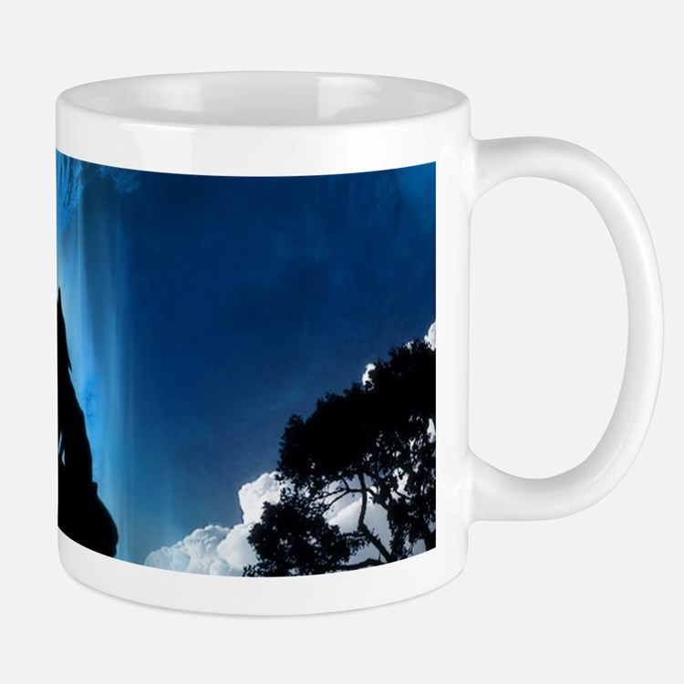 Wolf Howling At The Moon Mugs