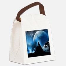 Wolf Howling At The Moon Canvas Lunch Bag