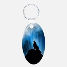 Wolf Howling At The Moon Keychains