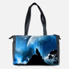 Wolf Howling At The Moon Diaper Bag