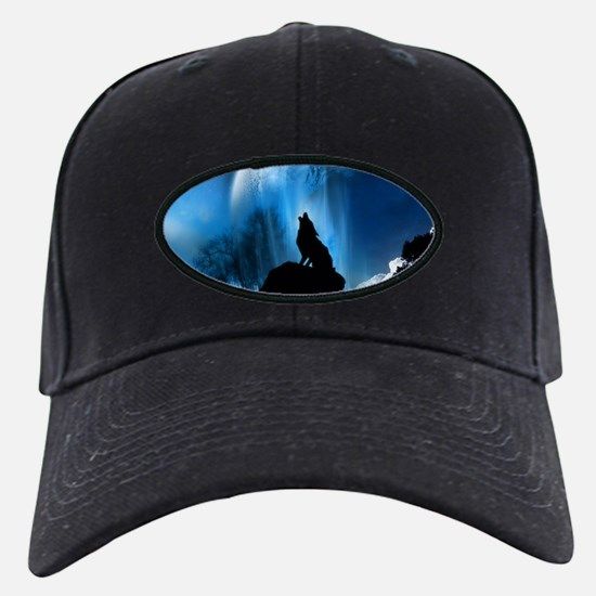 Wolf Howling At The Moon Baseball Cap