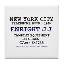 NEW YORK CITY TELEPHONE BOOK 1940 - E Tile Coaster