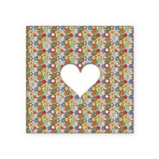 """Many Flowers & a Heart Square Sticker 3"""" x 3"""""""
