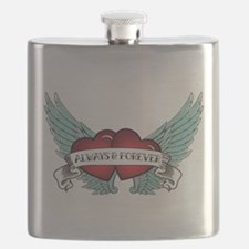 Always and Forever Rockabilly Winged Heart Flask