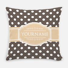 Chocolate Brown White Polkadot Cus Everyday Pillow