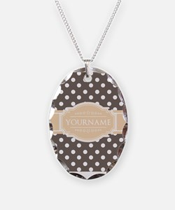 Chocolate Brown White Polkadot Necklace