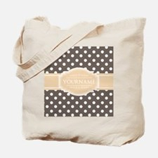 Chocolate Brown White Polkadot Custom Mon Tote Bag