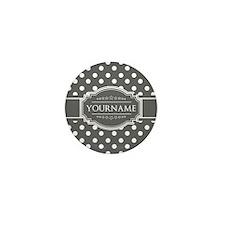 Charcoal Gray Polkadots Personalized Mini Button