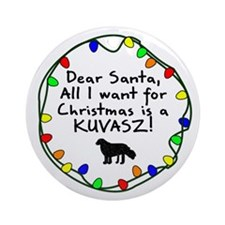 Dear Santa Kuvasz Christmas Ornament