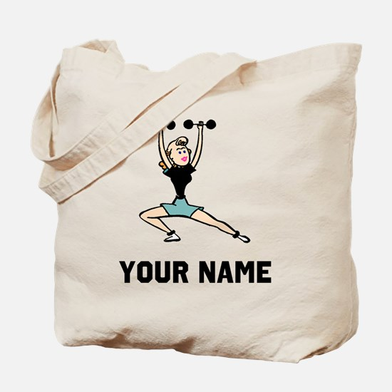 Woman Weightlifting Tote Bag