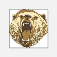 "Cute Grizzly bear Square Sticker 3"" x 3"""