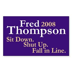 Fred Thompson 2008 Bumper Decal