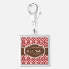 Indian Red Horseshoe Brown Cu Silver Square Charm