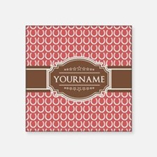 "Indian Red Horseshoe Brown Square Sticker 3"" x 3"""