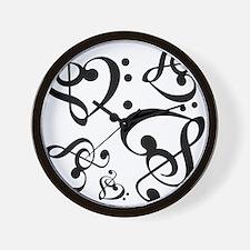 Bass Treble Clef Heart Pattern Music Wall Clock