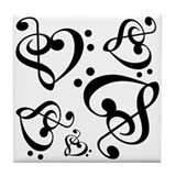 Black and white sheet music ceramic Drink Coasters