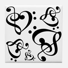 Bass Treble Clef Heart Pattern Music Tile Coaster