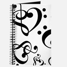 Bass Treble Clef Heart Pattern Music Journal