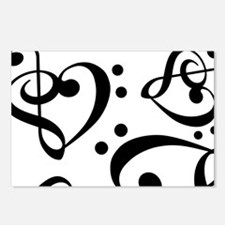 Bass Treble Clef Heart Pa Postcards (Package of 8)