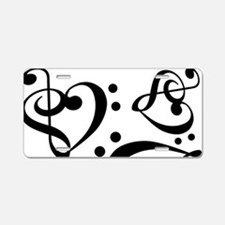 Bass Treble Clef Heart Patt Aluminum License Plate