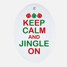 Keep Calm Jingle On Oval Ornament