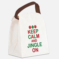 Keep Calm Jingle On Canvas Lunch Bag