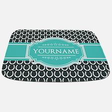 Personalized Horseshoes Pattern - Aqua Nav Bathmat