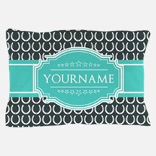 Personalized Horseshoes Pattern - Aqua Pillow Case