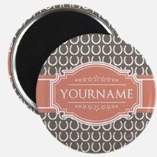 Beige Salmon Horsehoes Personalized Magnet