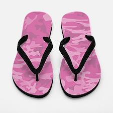 Pink Camo Pattern Flip Flops